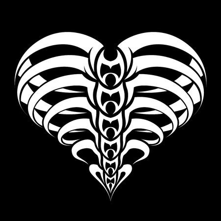 Abstract Heart tribal tattoo ontwerp Stock Illustratie