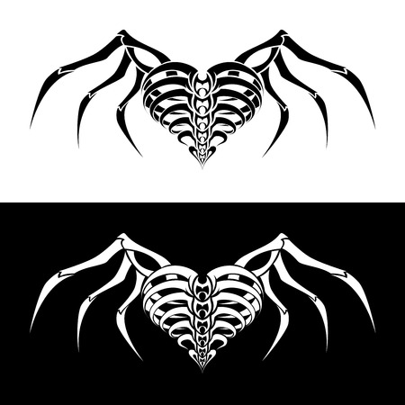 Abstract Heart with wings tribal tattoo design Vector