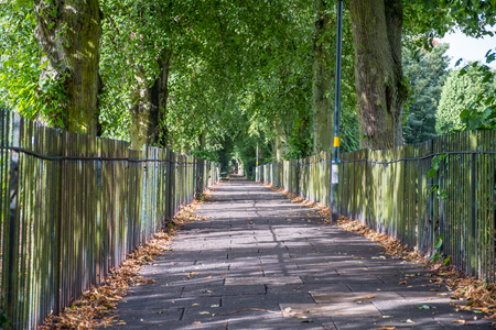 Cycling and walking path in Harborne, Birmingham, UK