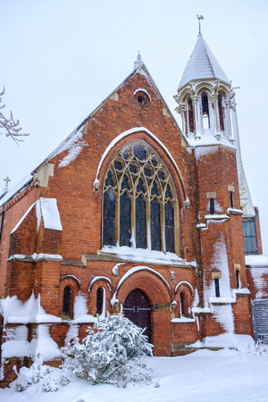 Beautiful St Marys Church Harborne in Winter Snow Stock Photo
