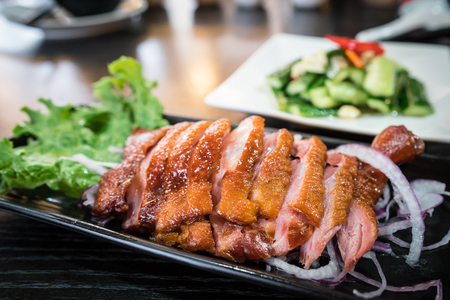 A plate of delicious Taiwanese smoked goose dish Imagens