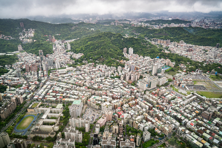 Aerial view of Taipei city from a skyscrapper Stock Photo