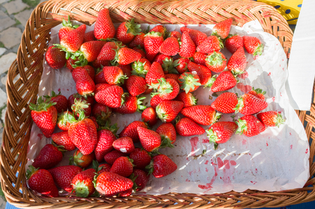 Fresh strawberries for sales at local fruit market