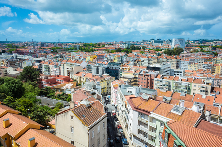Beautiful view of Lisbon city from a rooftop location.