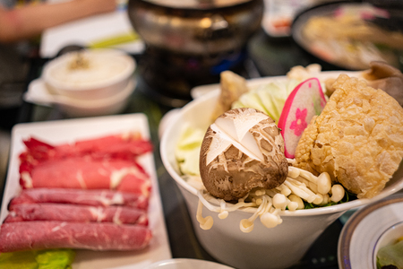 Assortment of fresh ingredients for Taiwanese hot pot. Stok Fotoğraf