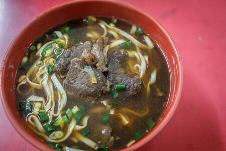 A bowl of delicious Taiwanese beef soup noodle.