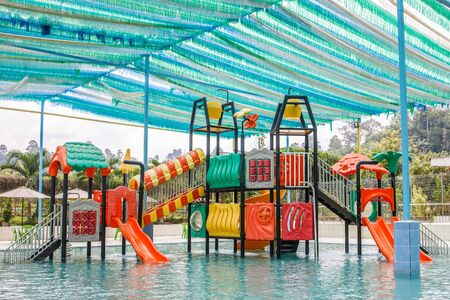 A playground equipment in a water theme park