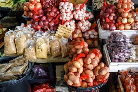 A variety of vegetables for sale in local farmer market in Borneo.