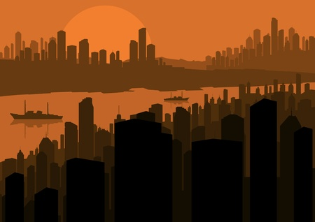 Skyscraper city landscape illustration vector background Vector