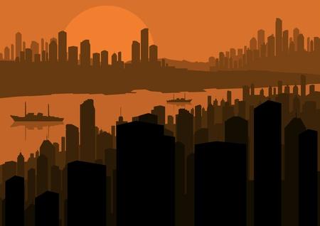 lake district: Skyscraper city landscape illustration vector background