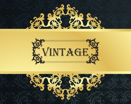 Vintage vector background with golden elements