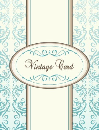 uitnodigen: Vintage blauwe vector achtergrond-kaart of cover van het boek Stock Illustratie