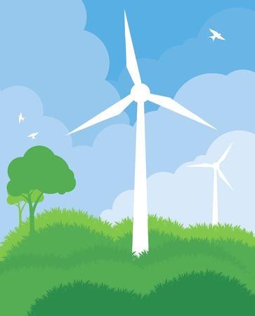 Alternative wind energy vector ecology background Stock Vector - 10452975