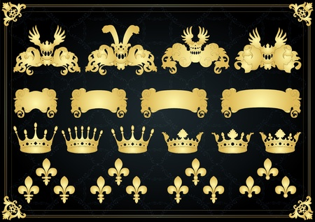 royal crown: Vintage golden royal coat of arms elements illustration