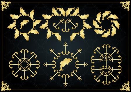 Vintage golden marine frames and elements illustration Stock Vector - 10488200