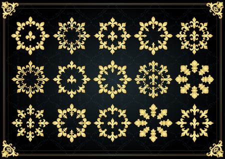 nobleman: Annata d'oro reale lilly elementi illustrazione