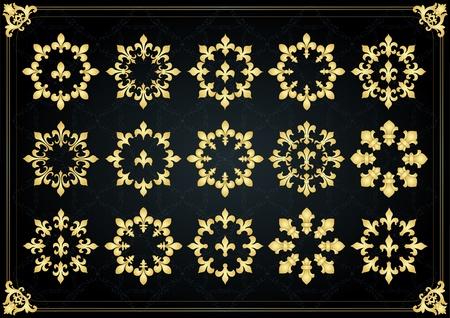 Vintage golden royal lilly elements illustration Vector