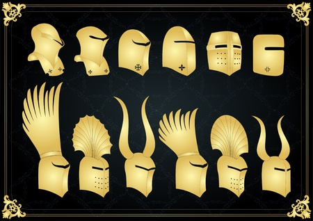 cavalryman: Vintage golden medieval knight helmets and elements vector background illustration