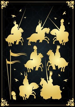 horseman: Elementos de jinete y vintage de caballero medieval de cosecha dorada vector ilustraci�n de fondo