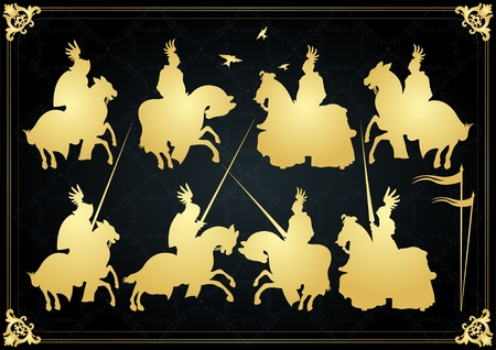 cavalryman: Vintage golden medieval knight horseman and vintage elements vector background illustration