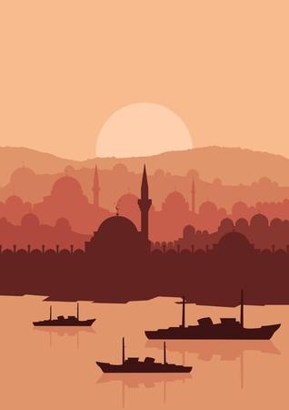 Vintage arabic city landscape illustration Stock Vector - 10488134