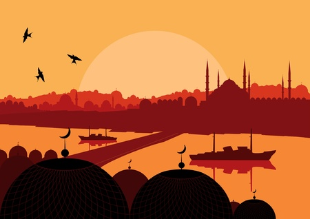 turkey istanbul: Vintage arabic city landscape illustration
