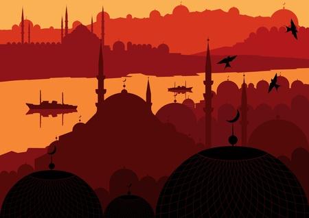 constantinople: Vintage arabic city landscape illustration