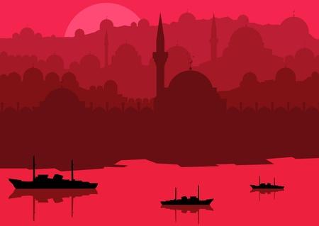 eastern europe: Vintage arabic city landscape illustration