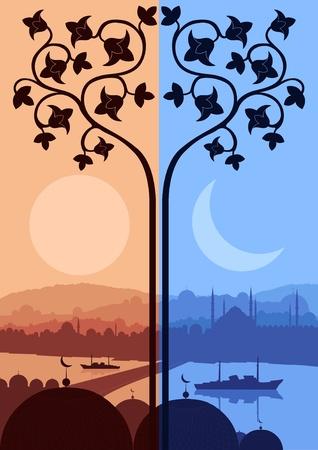 allah: Vintage arabic city landscape illustration