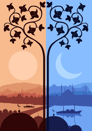 turkey istanbul: Vintage arabo Citt� del paesaggio illustrazione Vettoriali