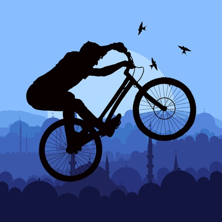 trial: Mountain bike trial rider in arabic city landscape illustration
