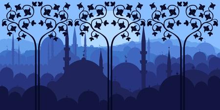 minaret: Vintage arabic city landscape illustration
