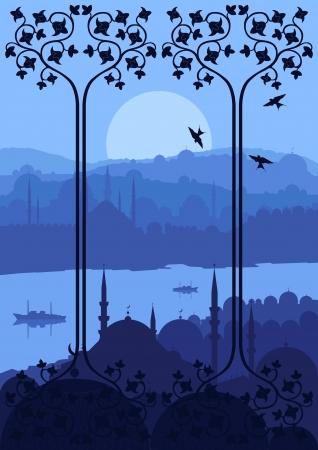 allah: Weinlese-arabische Stadt, Landschaft, Abbildung
