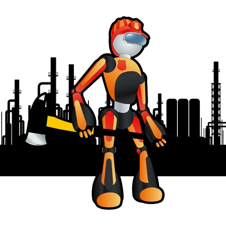 cartoon atom: Animated construction site firemen robot Illustration
