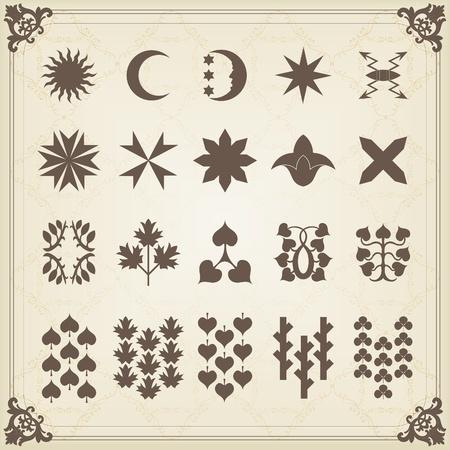 herald: Vintage heraldic mythology symbols and elements illustration