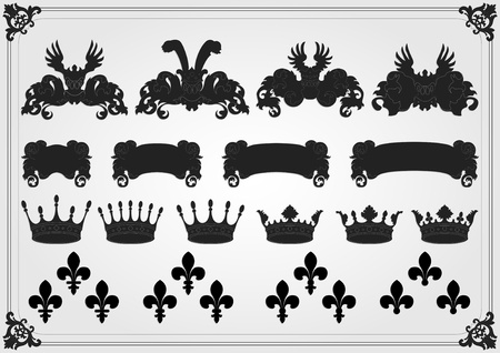 Illustrated vintage coat of arms elements collection Vector