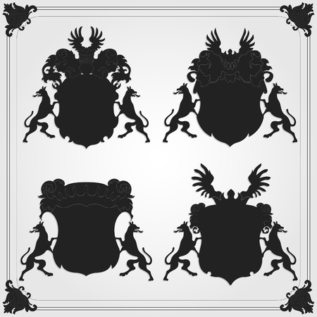 Illustrated vintage coat of arms collection Vector