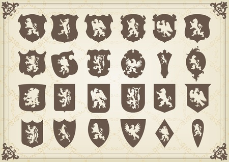 Vintage coat of arms shields collection illustration Vector