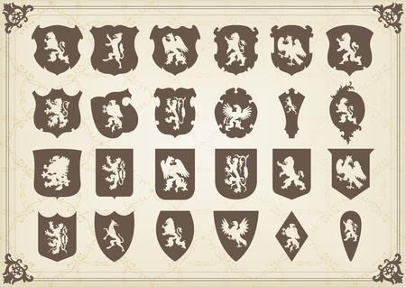 nobleman: Vintage Stemma scudi insieme illustrazione