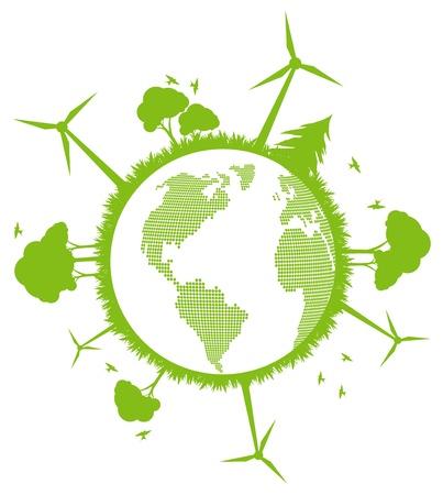 Environmental and ecology earth globe alternative energy vector concept background Stock Vector - 10488167