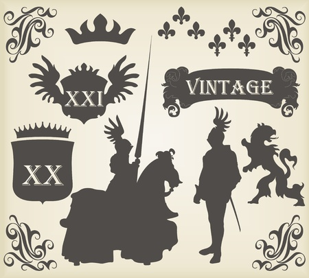 czar: Heraldic silhouettes set of many vintage elements vector background