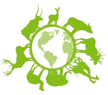 happy planet earth: Animal Planet vector de fondo ecolog�a concepto