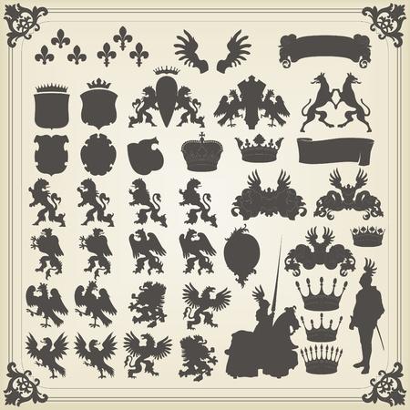 coat of arms: Conjunto de siluetas heráldica de muchos elementos vintage vector antecedentes