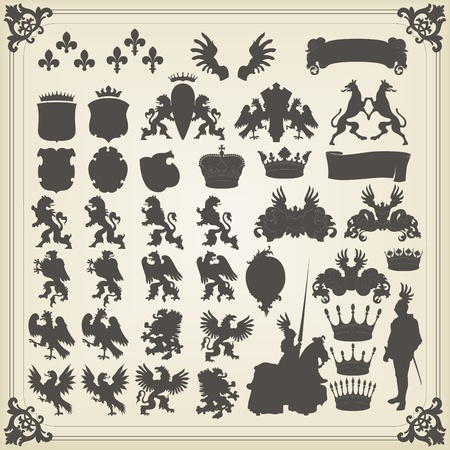 heraldic shield: Heraldic silhouettes set of many vintage elements vector background