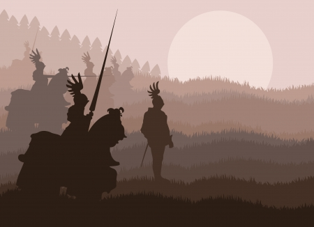 Caballeros medievales en batalla de vectores de fondo
