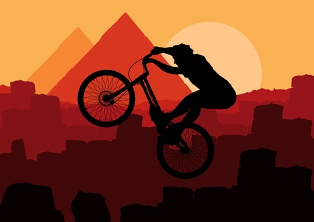 Animated mountain bike trial rider in Egypt pyramid ruin landscape illustration Vector
