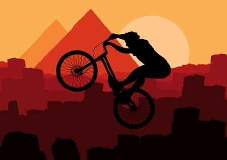 adrenalin: Animated mountain bike trial rider in Egypt pyramid ruin landscape illustration
