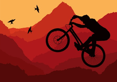 Mountain bike trial rider in wild nature landscape illustration Vector