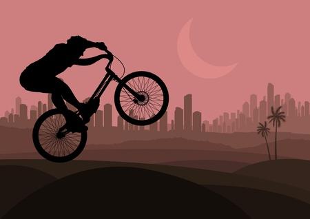 Mountain bike trial rider in arabic skyscraper city landscape illustration Vector