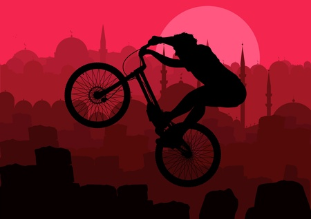 Animated mountain bike trial rider in Turkish city Istanbul landscape illustration Vector